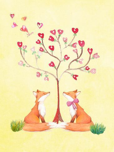 Love Fox Animal Reproduction procédé giclée