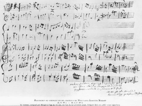 Handwritten Manuscript for Minuet for Piano in G Major Reproduction procédé giclée