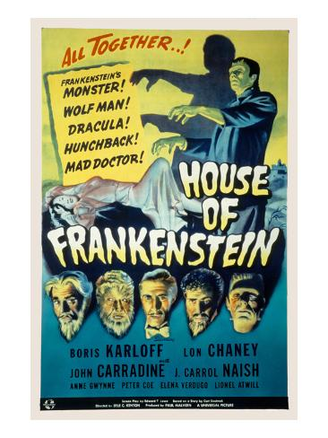 House of Frankenstein, Boris Karloff, Lon Chaney Jr., John Carradine, J. Carrol Naish, 1944 Photographie