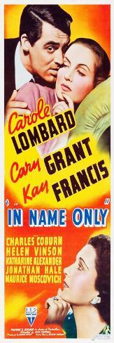 IN NAME ONLY, top l-r: Cary Grant, Carole Lombard, bottom l-r: Kay Francis on insert potser, 1939. Reproduction d'art