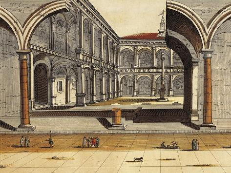Italy, Bologna, View of the Central Court the Public Study Reproduction procédé giclée