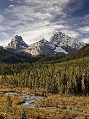 Smutts Creek, Commonwealth Peak, Sharks Tooth, and Mount Birdwood, Peter Lougheed Provincial Park,  Reproduction photographique