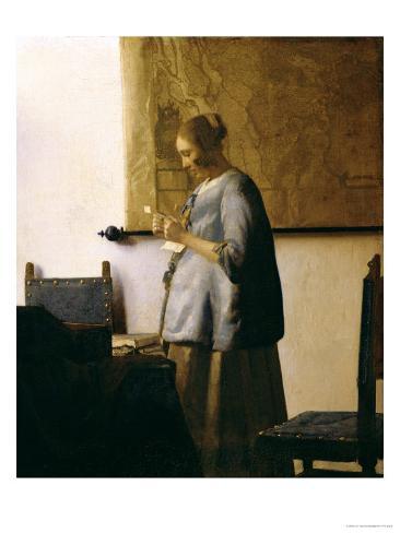 Woman Reading a Letter, circa 1662-63 Reproduction procédé giclée