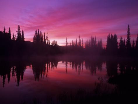 Base of Mt. Rainier, Reflection Lake, Washington, USA Reproduction photographique