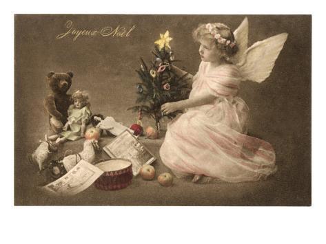 Joyeux no l ange avec des jouets et un sapin posters sur - Ange sapin noel ...