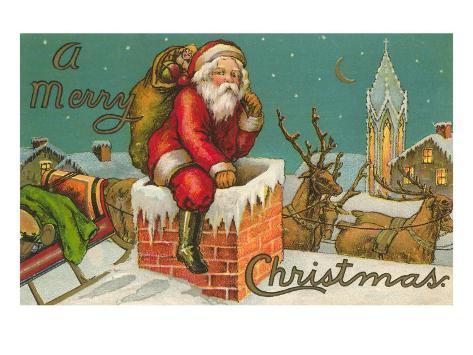 Joyeux Noël, le père Noël entrant dans la cheminée Reproduction d'art
