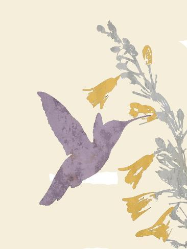 Hummingbird and flowers Reproduction procédé giclée