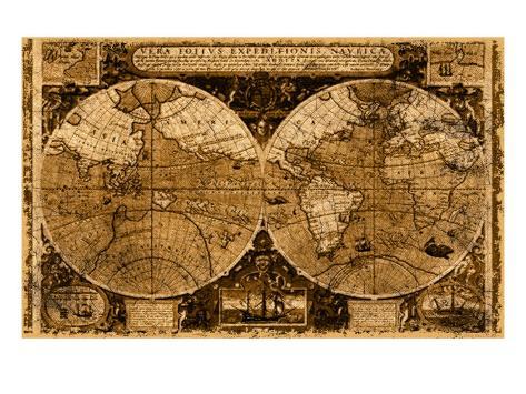 Carte du monde Reproduction procédé giclée
