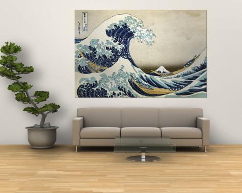 la grande vague de kanagawa poster g ant par katsushika hokusai sur. Black Bedroom Furniture Sets. Home Design Ideas