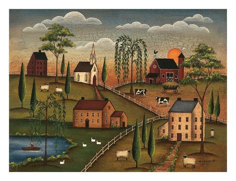 Village le jour poster dessin soleil nuages collines - Village dessin ...