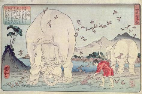 Twenty Four Paragons: Tai Shun and the Elephants, Pub. C.1830 Reproduction procédé giclée