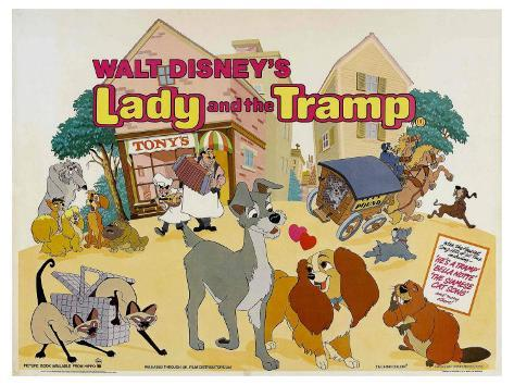 Lady and the Tramp, UK Movie Poster, 1955 Reproduction giclée Premium