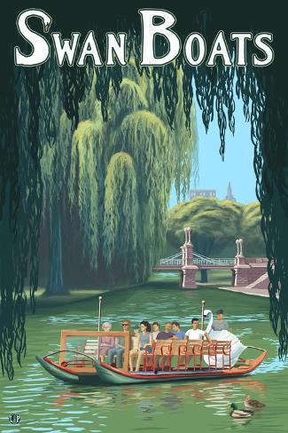 Boston, Massachusetts, Swan Boats Scene Reproduction d'art