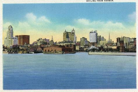 Buffalo, New York, View of the City Skyline from the Harbor Reproduction d'art