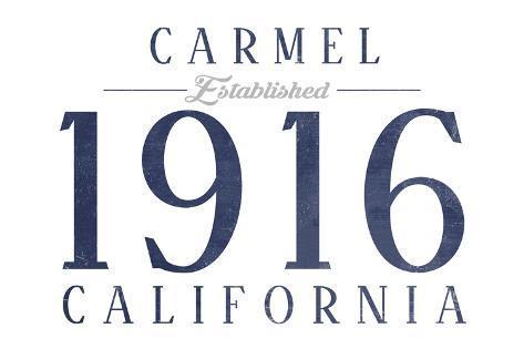 Carmel, California - Established Date (Blue) Reproduction d'art