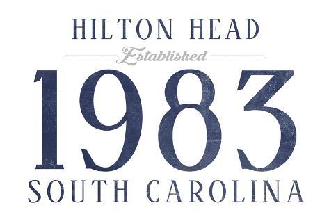 Hilton Head, South Carolina - Established Date (Blue) Reproduction d'art