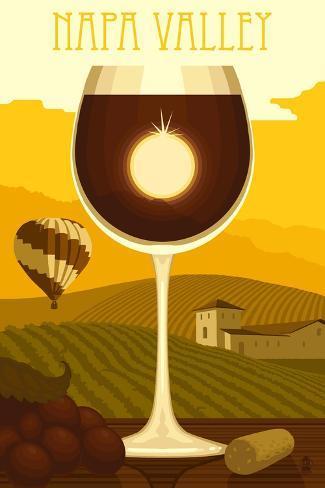 Napa Valley, California - Wine Glass and Vineyard Reproduction d'art