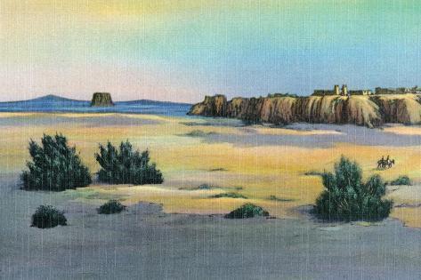 New Mexico, View of Acoma and the Enchanted Mesa near Laguna Reproduction d'art
