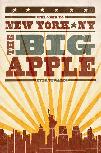 New York, New York - Skyline and Sunburst Screenprint Style Reproduction d'art