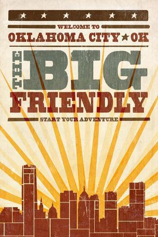 Oklahoma City, Oklahoma - Skyline and Sunburst Screenprint Style Reproduction d'art