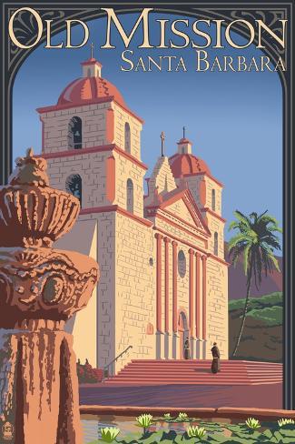 Old Mission - Santa Barbara, California Reproduction d'art