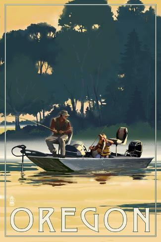 Oregon - Fishermen in Boat Reproduction d'art
