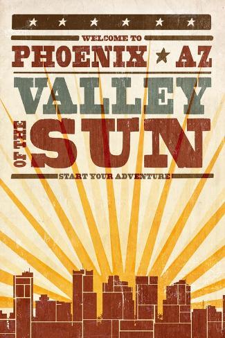 Phoenix, Arizona - Skyline and Sunburst Screenprint Style Reproduction d'art
