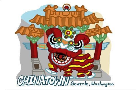 Seattle, Washington - Chinatown - Cartoon Icon Reproduction d'art