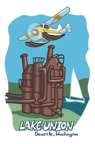 Seattle, Washington - Lake Union - Cartoon Icon Reproduction d'art