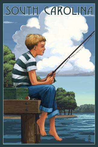 South Carolina - Boy Fishing Reproduction d'art