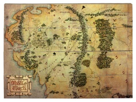 Le Hobbit : carte du voyage Panneau en bois