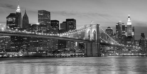le pont de brooklyn de nuit new york toile tendue sur ch ssis sur. Black Bedroom Furniture Sets. Home Design Ideas