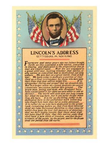 Lincoln avec le texte du discours de Gettysburg Reproduction d'art