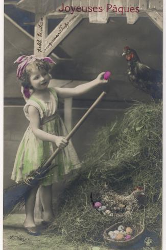 Little Girl with Coloured Eggs in a Poultry Yard Reproduction photographique