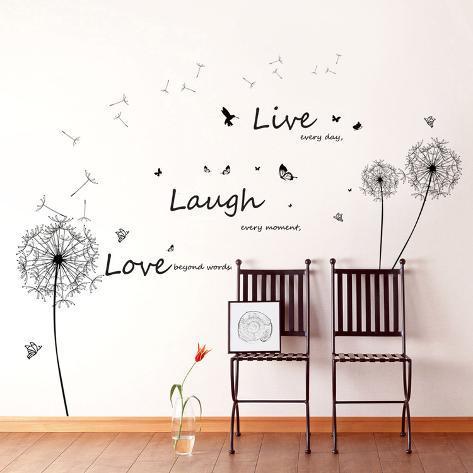 Live Laugh Love Dandelions Autocollant mural