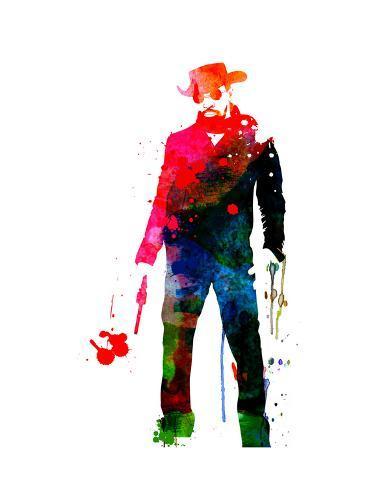 Django with a Gun Watercolor Reproduction d'art