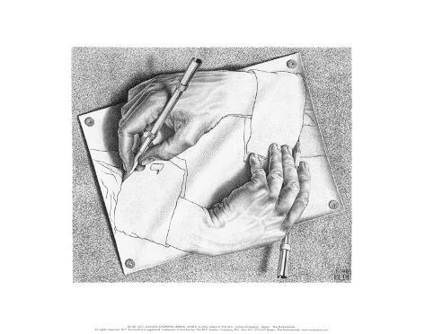 Mains dessinant Reproduction d'art