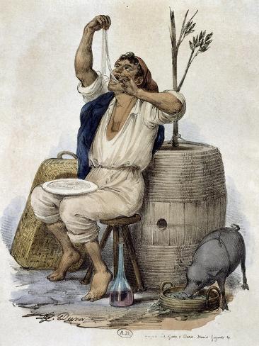 Man Eating Macaroni, Circa 1850 Reproduction procédé giclée