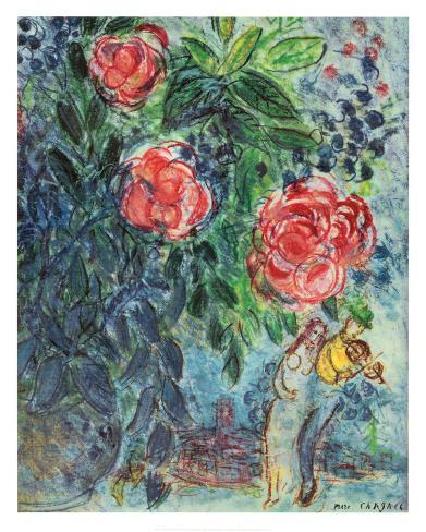 Fleurs et amoureux Reproduction d'art