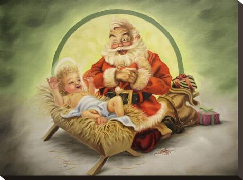 Santa and Baby Jesus Toile tendue sur châssis