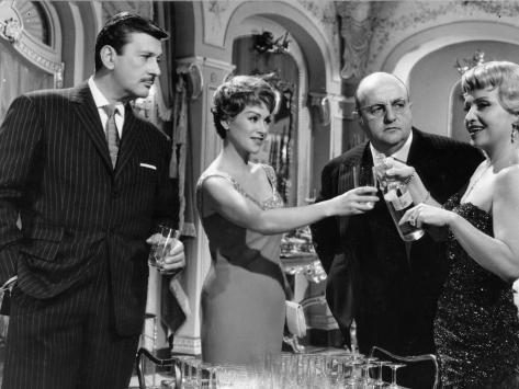 Martine Carol, Bernard Blier, Franck Villard et Ginette Leclerc : Le Cave Se Rebiffe, 1961 Reproduction photographique