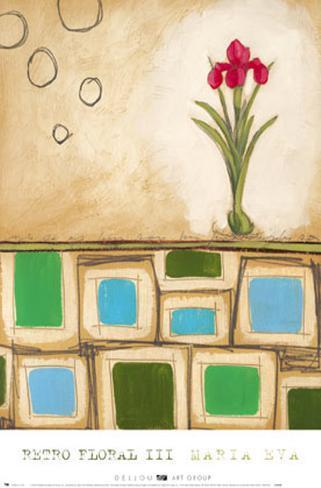 Fleurs rétro III Reproduction d'art