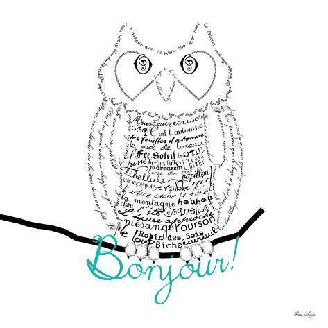 Bonjour Owl Reproduction giclée Premium