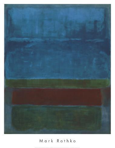 Bleu, vert et marron Reproduction d'art