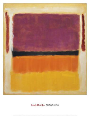 Sans titre Violet, noir, orange, jaune sur blanc et rouge, 1949 Reproduction d'art