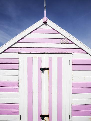 Pink and White Striped Beach Hut, Felixstowe, Suffolk, England, United Kingdom, Europe Reproduction photographique