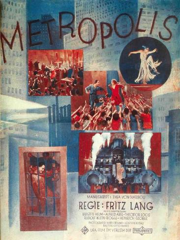 Metropolis, German Movie Poster, 1926 Reproduction d'art