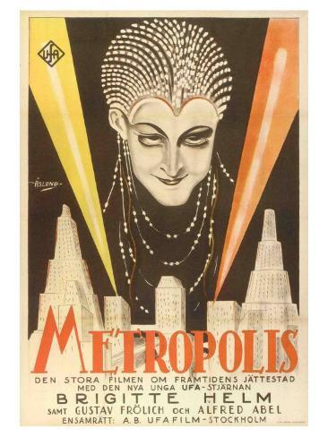 Metropolis, Swedish Movie Poster, 1926 Reproduction d'art