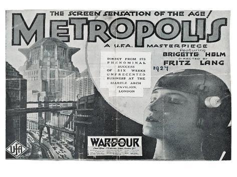 Metropolis, UK Movie Poster, 1926 Reproduction d'art