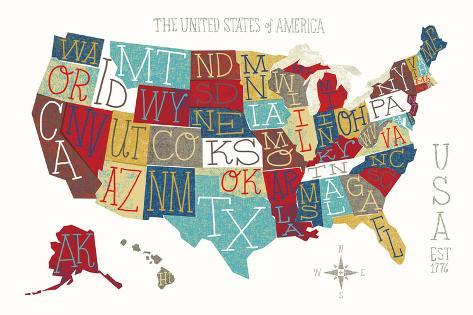 Colorful USA Map Reproduction d'art